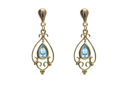 9 Carat Yellow Gold Blue Topaz Drop Earrings AP6857